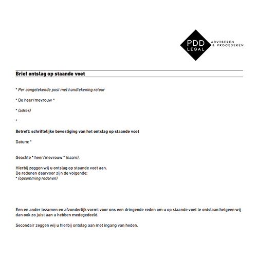 voorbeeldbrief bezwaar ontslag Ontslag op staande voet.pdf   pddlegal.nl pddlegal.nl voorbeeldbrief bezwaar ontslag
