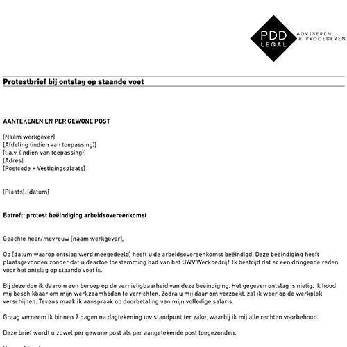 ontslag op staande voet voorbeeldbrief Protestbrief ontslag op staande voet.pdf   pddlegal.nl pddlegal.nl ontslag op staande voet voorbeeldbrief
